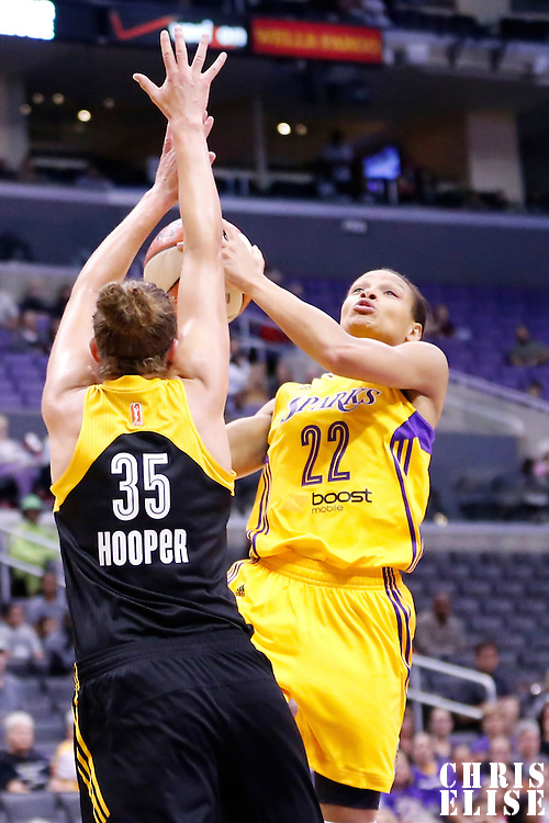 19 June 2014: Los Angeles Sparks guard/forward Armintie Herrington (22) goes to the basket over Tulsa Shock forward Jordan Hooper (35) during the Los Angeles Sparks 87-77 victory over the Tulsa Shock, at the Staples Center, Los Angeles, California, USA.