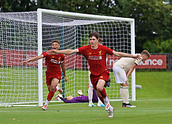 KIRKBY, ENGLAND - Saturday, August 31, 2019: Liverpool's Layton Stewart celebrates the fourth goal during the Under-18 FA Premier League match between Liverpool FC and Manchester United at the Liverpool Academy. (Pic by David Rawcliffe/Propaganda)