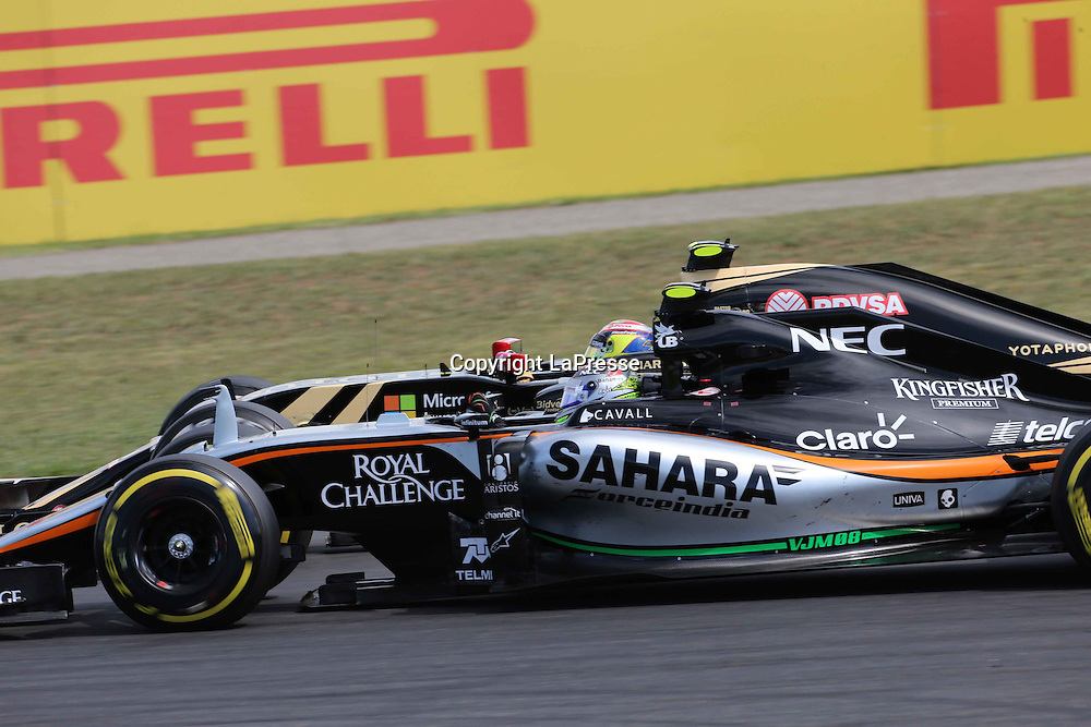 &copy; Photo4 / LaPresse<br /> 26/07/2015 Budapest, Hungary<br /> Sport <br /> Grand Prix Formula One Hungary 2015<br /> In the pic: Sergio Perez (MEX) Sahara Force India F1 VJM08 and Pastor Maldonado (VEN) Lotus F1 Team E23