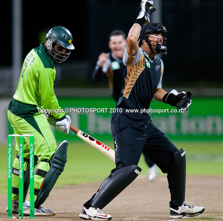 Abdul Razzaq is caught by Peter McGlashan off bowling of Nathan McCullum  during New Zealand Black Caps v Pakistan, Match 2, won by NZ by 39 runs. Twenty 20 Cricket match at Seddon Park, Hamilton, New Zealand. Tuesday 28 December 2010. . Photo: Stephen Barker/PHOTOSPORT