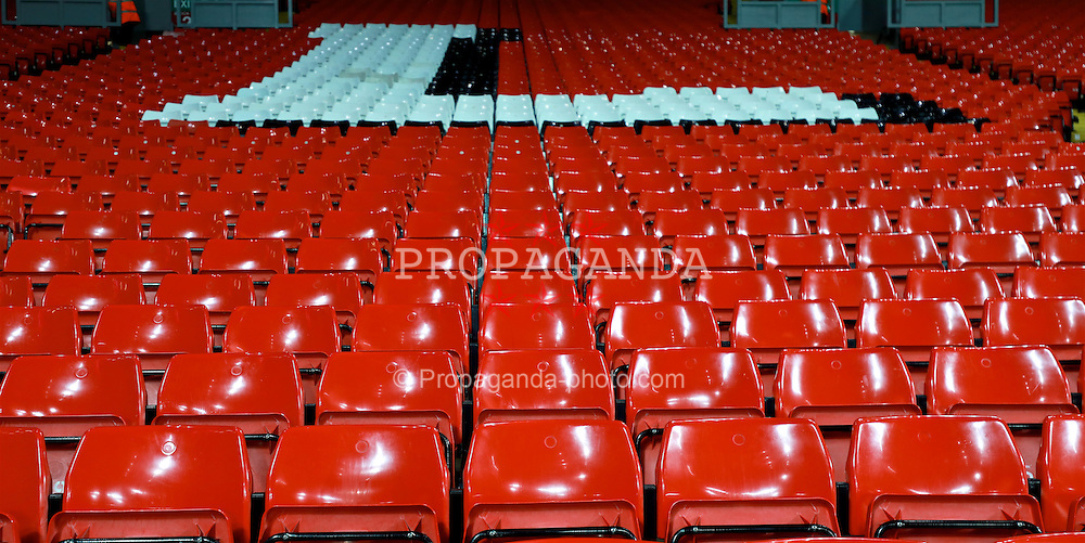 LIVERPOOL, ENGLAND - Tuesday, November 29, 2016: Red seats in the Spion Kop before the Football League Cup Quarter-Final match between Liverpool and Leeds United at Anfield. (Pic by David Rawcliffe/Propaganda)