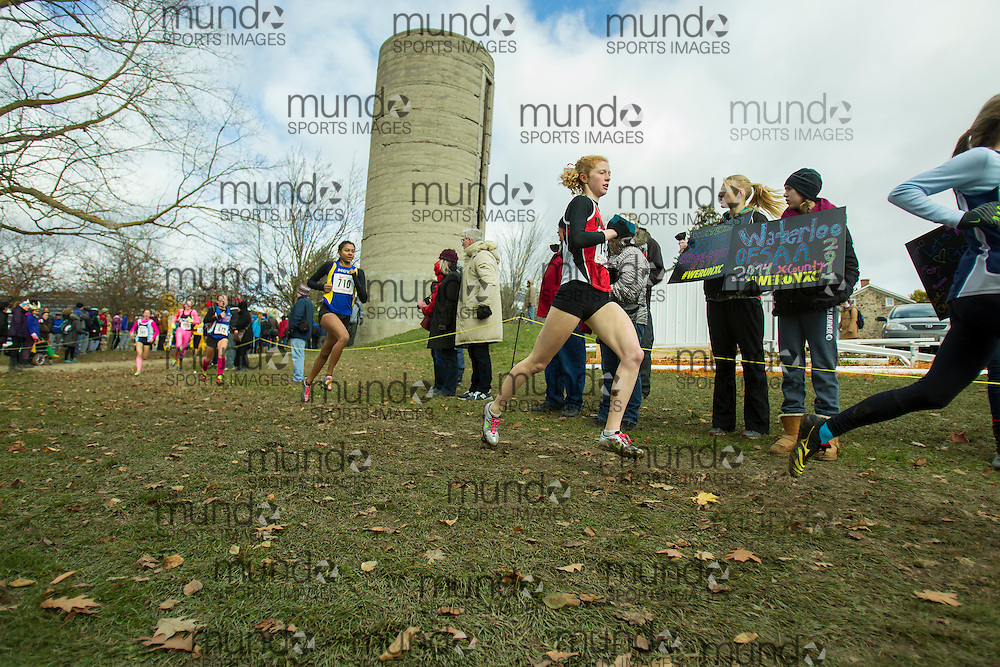 Allison Anderson of Malvern CI competes at the OFSAA Cross Country Championships in Waterloo Ontario, Saturday, November 1, 2014.<br /> Mundo Sport Images/ Geoff Robins