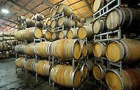 Wine barrels in storage shed