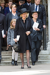 © Licensed to London News Pictures. 03/05/2016. LONDON, UK.  Family members and the DUCHESS OF CORNWALL leaving a service of Thanksgiving for the life and work of former Chancellor of the Exchequer, Rt Hon The Lord Geoffrey Howe of Aberavon CH PC QC at St Margaret's Church, Westminster Abbey.  Photo credit: Vickie Flores/LNP