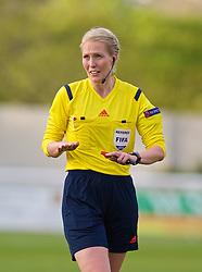 BANGOR, WALES - Thursday, May 8, 2014: Referee Lina Lehtovaara during the FIFA Women's World Cup Canada 2015 Qualifying Group 6 match at the Nantporth Stadium. (Pic by David Rawcliffe/Propaganda)