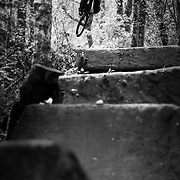 Owen Dudley gets air on a private jump trail near Bellingham Washington.