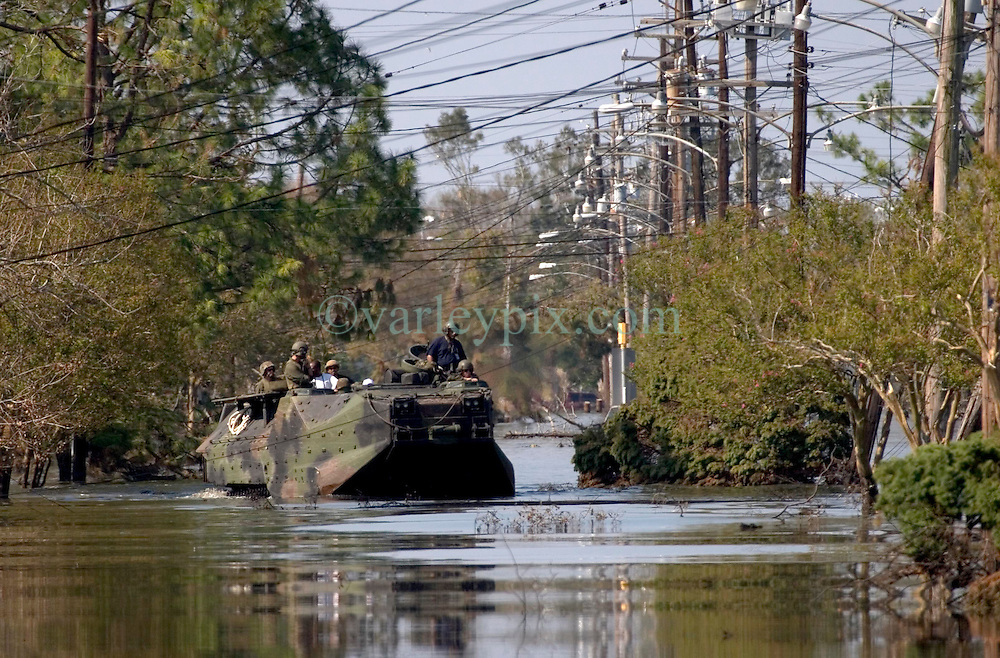 08 Sept 2005. New Orleans, Louisiana. Hurricane Katrina aftermath. <br /> Marines in AAV's (armoured amphibious vehicles) in East New Orleans as they continue search and rescue missions.<br /> Photo; &copy;Charlie Varley/varleypix.com