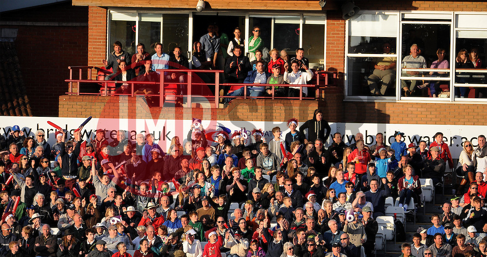 A large crowd gathered to watch Somerset's first Home Natwest T20 Blast match of the year. Photo mandatory by-line: Harry Trump/JMP - Mobile: 07966 386802 - 22/05/15 - SPORT - CRICKET - Natwest T20 Blast - Somerset v Sussex Sharks - The County Ground, Taunton, England.