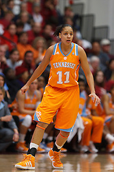 Dec 20, 2011; Stanford CA, USA; Tennessee Lady Volunteers forward Cierra Burdick (11) defends against the Stanford Cardinal during the first half at Maples Pavilion.  Stanford defeated Tennessee 97-80. Mandatory Credit: Jason O. Watson-US PRESSWIRE