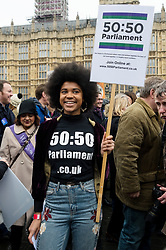 © Licensed to London News Pictures. 04/03/2018. London, UK. ISABEL ADOMAKOH YOUNG of the 50:50 Parliament group takes part in the #March4Women rally calling for gender equality. Photo credit: Ray Tang/LNP