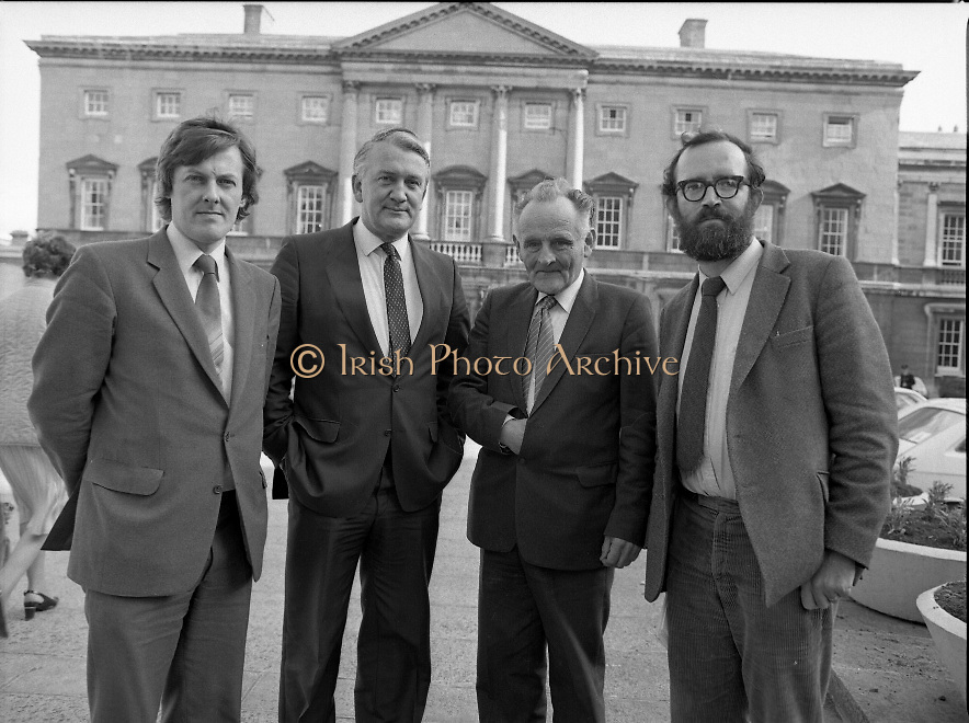 1983-11-83.11th Octoer 1983.11-10-1983.10-11-83..Photographed at Seanad Éireann..Senatorial style:..Four members of Seanad Éireann enjoy the rare rays of an October sun outside the Upper House of the Oireachtas in Dublin..