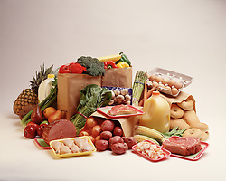 Typical grocery store assortment of fresh  foods used by american family.