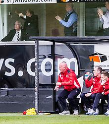 Falkirk bench after Dunfermline's goal. Dunfermline 1 v 2 Falkirk, Scottish Championship game played 22/4/2017 at Dunfermline's home ground, East End Park.