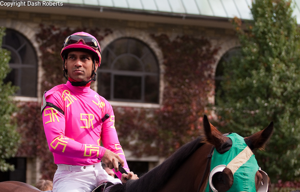 Jockey Shaun Bridgmohan on Matz in the paddock at Keeneland during the 2009 Fall Meet.