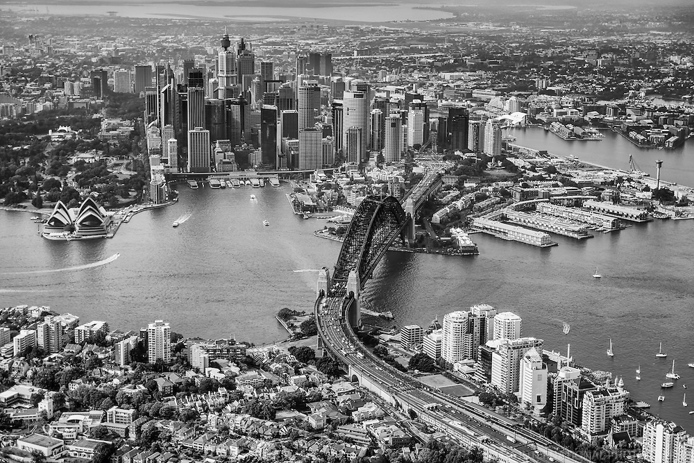 Quintessential Aerial View of Sydney (monochrome)