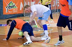 Bostjan Kavas and Miha Zvizej at practice of Slovenian Handball Men National Team, on June 4, 2009, in Arena Kodeljevo, Ljubljana, Slovenia. (Photo by Vid Ponikvar / Sportida)