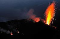 Explosion, Stromboli Volcano, Stromboli, Etna, Italy