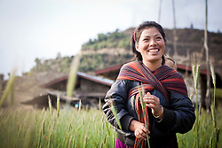 Portrait of a joyful woman, Mongaar, Bhutan, Asia