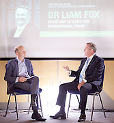 Dr Liam Fox MP <br /> Secretary of State for International Trade <br /> in conversation with Paul Waugh UK Executive Editor of The Huffington Post UK - The Waugh Zone being live streamed on Huffington Post. At the Conservative Party Conference, Birmingham, Great Britain <br /> 2nd October 2016 <br /> <br /> Paul Waugh <br /> and <br /> Liam Fox <br /> <br /> <br /> Photograph by Elliott Franks <br /> Image licensed to Elliott Franks Photography Services