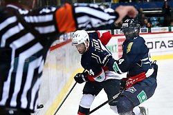 04.01.2015, Dom Sportova, Zagreb, CRO, KHL League, KHL Medvescak vs Slovan Bratislava, 43. Runde, im Bild Edwin Hedberg, Ticar Rok. // during the Kontinental Hockey League 43th round match between KHL Medvescak and Slovan Bratislava at the Dom Sportova in Zagreb, Croatia on 2015/01/04. EXPA Pictures © 2015, PhotoCredit: EXPA/ Pixsell/ Davor Puklavec<br /> <br /> *****ATTENTION - for AUT, SLO, SUI, SWE, ITA, FRA only*****