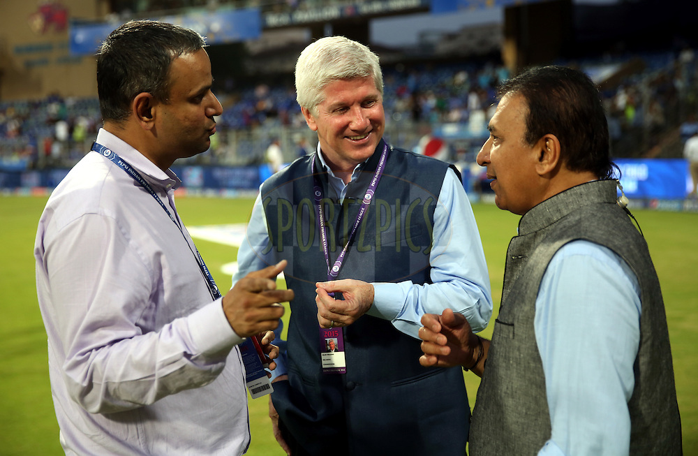 Sundar Raman IPL COO (L TO R) , Commentator alan wilkins and Sunil Gavaskar cricket commentetor and  former indian cricketer during match 51 of the Pepsi IPL 2015 (Indian Premier League) between The Mumbai Indians and The Kolkata knight Riders held at the Wankhede Stadium in Mumbai, India on the 14th May 2015.<br /> <br /> Photo by:  Sandeep Shetty / SPORTZPICS / IPL