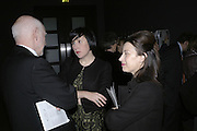 Howard Davies, Alice Rawthorn and Maureen Paley, Hogarth private view and dinner. Tate Britain. London. 5 February 2007.  -DO NOT ARCHIVE-© Copyright Photograph by Dafydd Jones. 248 Clapham Rd. London SW9 0PZ. Tel 0207 820 0771. www.dafjones.com.
