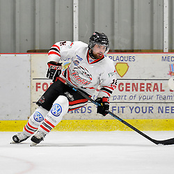 """FORT FRANCES, ON - May 2, 2015 : Central Canadian Junior """"A"""" Championship, game action between the Fort Frances Lakers and the Soo Thunderbirds, Championship game of the Dudley Hewitt Cup. Joey Miller #12 of the Soo Thunderbirds during the first period.<br /> (Photo by Shawn Muir / OJHL Images)"""