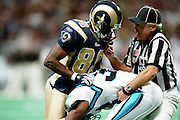 Referee tries to seperate Wide receiver Isaac Bruce (80) of the St. Louis Rams and Darren Hambrick (35) of the Carolina Panthers during a fight in a 48 to 14 win by the Rams on 11/11/2001..©Wesley Hitt/NFL Photos