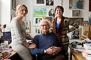 Cinematographer Albert Maysles and his daughters at his Harlem office .from left to right:.Sara Maysles.Albert Maysles .Rebekah Maysles ..- Albert Maysles and his brother David Maysles became famous for their documentary films like Grey Gardens, Salesman, Meet Marlon Brando and Gimme Shelter, the landmark documentary about the Rolling Stones on their notorious 1969 US tour. The Maysles Brothers also collaborated with Christo and Jeanne-Claude on many of their films. Today Albert Maysles works on new projects with the help of his daughters Sara and Rebekah Maysles. The company, named Maysles Films, is located in Harlem...©Stefan Falke.