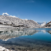 NEPAL. Everest Region, Gokyo Lakes. May 8th, 2012. Located in the Solukhumbu District of Nepal, the Gokyo Lakes are considered to be sacred by both the Hindus and Buddists. Sitting at an altitude of 15,400-16,000ft, it is the world's highest freshwater lake system comprised of six main lakes nested deep in the Himalayas.