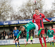 Andreas Holm (FC Helsingør) i kamp med Emil Thomsen (Avarta) under kampen i 2. Division mellem Boldklubben Avarta og FC Helsingør den 10. november 2019 i Espelunden (Foto: Claus Birch).
