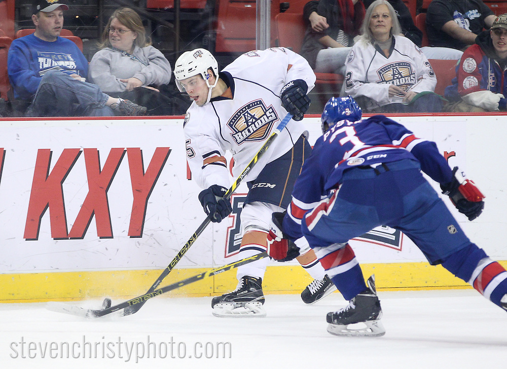 January 18, 2015: The Oklahoma City Barons play the Rochester Americans in an American Hockey League game at the Cox Convention Center in Oklahoma City.