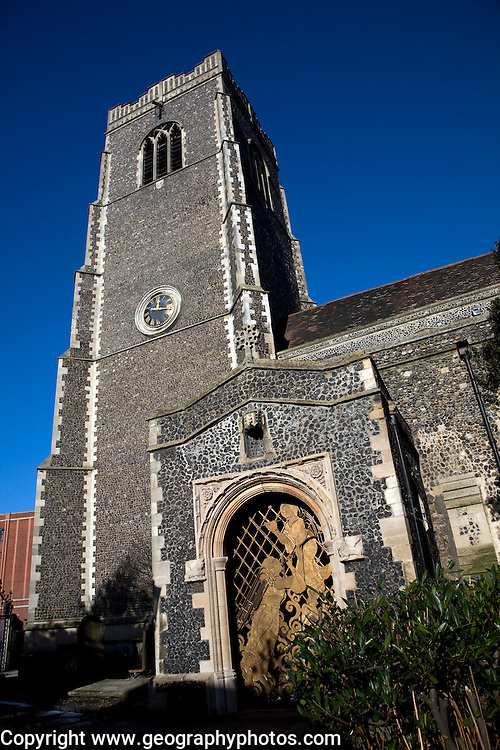 Tower of Church of St Peter by the waterfront, Ipswich, Suffolk, England,