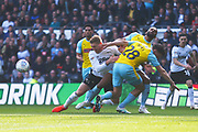 Derby County forward Martyn Waghorn (9) is blocked by Rotherham United defender Billy Jones (28) during the EFL Sky Bet Championship match between Derby County and Rotherham United at the Pride Park, Derby, England on 30 March 2019.