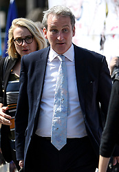 © Licensed to London News Pictures. 15/05/2019. London, UK. Education secretary DAMIAN HINDS is seen arriving at the Houses of Parliament in Westminster, London. Government has announced that MPs will get another chance to vote on Theresa May's Brexit Bill in early June, after EU parliament elections. Photo credit: Ben Cawthra/LNP
