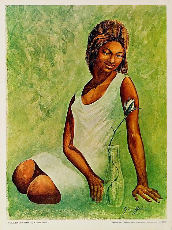 Cat. #14 - Print of watercolor painting of a young woman seated with a flower in a vase. Printed in Italy on heavy, smooth stock.<br /> Paper size is 10 1/4 x 13 1/2&quot;. Image size is approximately 9 1/2x 12 3/4&quot; <br /> Cat. #14 - Impresi&oacute;n de una pintura en acuarela de una mujer joven sentada con una flor en un florero. <br /> Impreso en Italia en papel liso y pesado. Tama&ntilde;o del papel es10 1/4 x 13 1/2&quot;. Tama&ntilde;o de la imagen es aproximadamente 9 1/2x 12 3/4&quot;