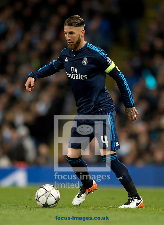 Sergio Ramos of Real Madrid during the UEFA Champions League match at the Etihad Stadium, Manchester<br /> Picture by Russell Hart/Focus Images Ltd 07791 688 420<br /> 26/04/2016