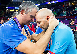 Igor Kokoskov, coach of Slovenia and Sasha Aleksandar Djordjevic, head coach of Serbia at Trophy ceremony after winning during the Final basketball match between National Teams  Slovenia and Serbia at Day 18 of the FIBA EuroBasket 2017 when Slovenia became European Champions 2017, at Sinan Erdem Dome in Istanbul, Turkey on September 17, 2017. Photo by Vid Ponikvar / Sportida