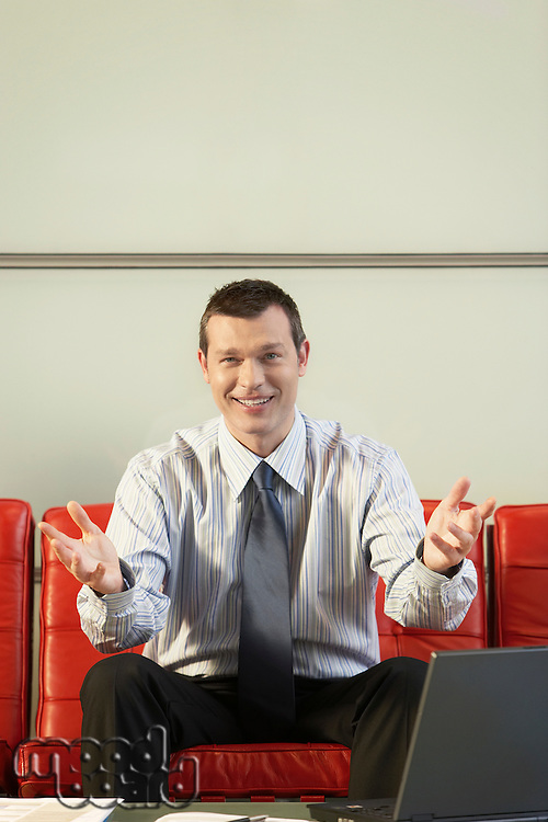 Smiling Businessman arms outstretched front view portrait