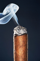 End of smoking cigar in studio black background