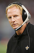 ST. LOUIS - SEPTEMBER 23:  Head coach Jim Haslett of the New Orleans Saints works the sideline against the St. Louis Rams at the Edward Jones Dome on September 23, 2005 in St. Louis, Missouri. The Rams defeated the Saints 28-17. ©Paul Anthony Spinelli *** Local Caption *** Jim Haslett