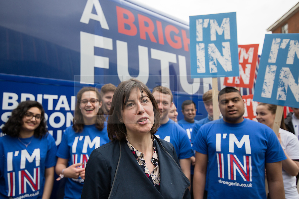 """© Licensed to London News Pictures . 15/04/2016 . Manchester , UK . LUCY POWELL MP visits Manchester Metropolitan University Business School to campaign for the """" Britain Stronger in Europe """" campaign . Photo credit: Joel Goodman/LNP"""