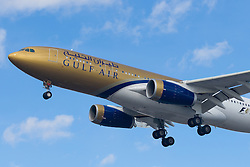 Heathrow Airport, London, March 28th 2016. A Gulf Air Airbus A330, registration A9-CKA, about to land at London Heathrow.