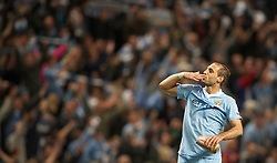 MANCHESTER, ENGLAND - Monday, April 30, 2012: Manchester City's Pablo Zabaleta celebrates his side's 1-0 victory over rivals Manchester United during the Premiership match at the City of Manchester Stadium. (Pic by David Rawcliffe/Propaganda)