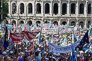 Roma 6 Giugno  2014<br /> Manifestazione e sciopero generale dei dipendenti del Comune di Roma, che in migliaia si sono ritrovati in piazza del Campidoglio contro il sindaco Ignazio Marino e per contestare i tagli alle retribuzioni e l&rsquo;incertezza sul futuro del cosiddetto salario accessorio.<br /> Rome June 6, 2014 <br /> Demonstration and general strike of the employees of the City of Rome, thousands gathered in the square of the Capitol against the mayor Ignazio Marino and against the wage cuts and uncertainty about the future of the so-called wage accessory.