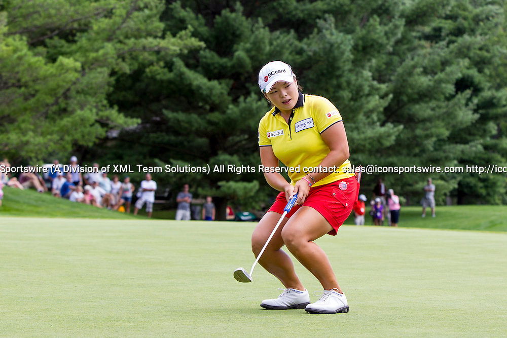 19 July 2015:  Ha Na Jang, of South Korea, reacts to missing her birdie put to win the tournament on the 18th green during regulation play during the final round of the LPGA Marathon Classic presented by Owens Corning and O-I at Highland Meadows Golf Club in Sylvania, Ohio.