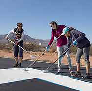 Air marking with Phoenix 99s at Eagle Nest in Aguila, AZ on February 10, 2018.<br /> <br /> Left to right: Diana LeSueur Andreson, Courtney Smith &amp; Sarah Castillo