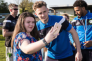 Forest Green Rovers goalkeeper Bradley Collins(1) poses with a fan during the EFL Sky Bet League 2 match between Forest Green Rovers and Grimsby Town FC at the New Lawn, Forest Green, United Kingdom on 5 May 2018. Picture by Shane Healey.