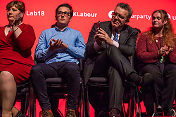 © Licensed to London News Pictures. 26/09/2018. Liverpool, UK. Shadow Foreign Secretary Emily Thornberry (L) and Labour Party Deputy Leader Tom Watson (3-L) MP on stage during Jeremy Corbyn's closing speech at the Labour Party Conference. Photo credit: Rob Pinney/LNP