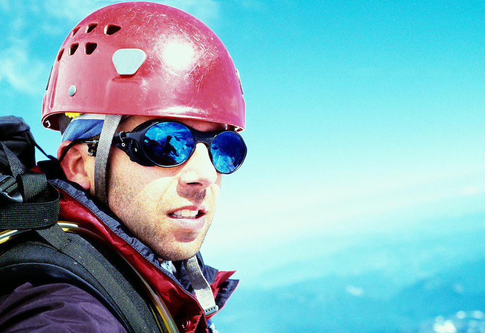 Portrait of Roger Kohn descending from a successful climb to the top of Mount Rainier, Washington, USA.